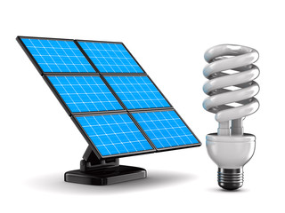 solar battery and bulb on white background. Isolated 3d image
