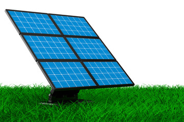 solar battery on grass. Isolated 3d image