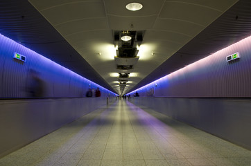 Illuminated airport corridor. Frankfurt international.