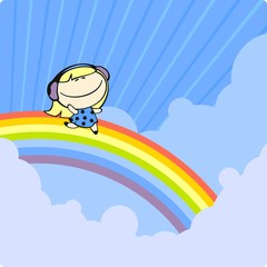 Girl running on a rainbow