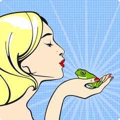 Young woman kissing a frog