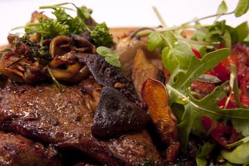 Steak and mushroom