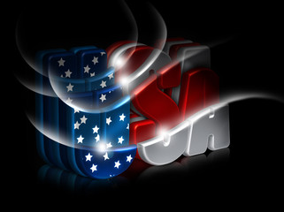 Happy 4th July greeting card. Isolated USA 3d letters.