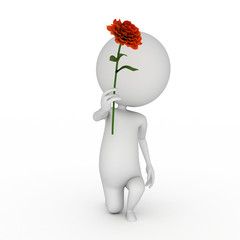 3d rendered illustration of a little guy with a flower