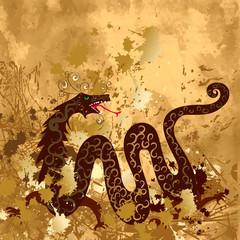 Chinese dragon on paper grunge