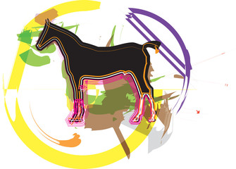 Papier Peint - Abstract horses silhouettes. Vector illustration