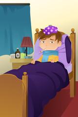 Sick kid on bed