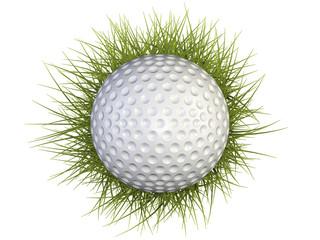 golf ball with green grass