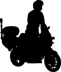 Fototapete - motorcyclist silhouette - vector
