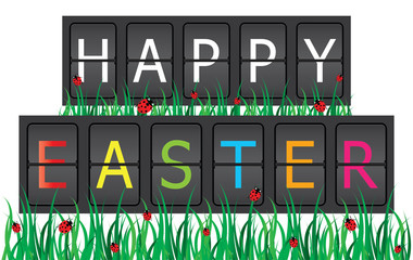 Easter background with ladybirds