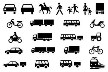Sinnbilder Icons Straßenverkehr PKW LKW Motorrad Kinder