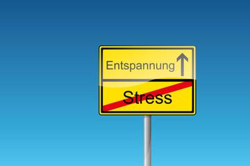 Schild Entspannung Stress Wirtschaftskrise Finanzkrise