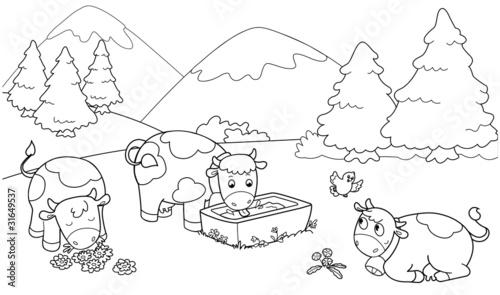 Mucche In Montagna Illustrazioni Da Colorare Per Bambini Stock