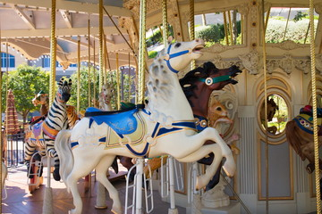 Colorful Horses on a Carousel