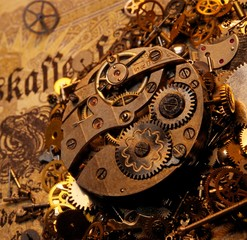 The gears on the old banknote