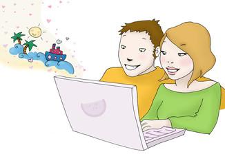 giovane coppia sceglie la propria vacanza sul laptop