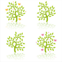 set of 4 glossy trees with butterflies