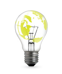 Light bulb with green earth map