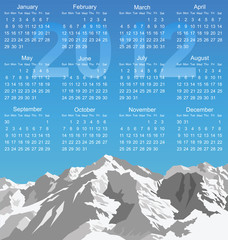 2012 calendar with snow capped mountain range