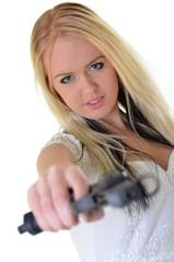 bride holding gun