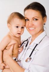 happy doctor with newborn