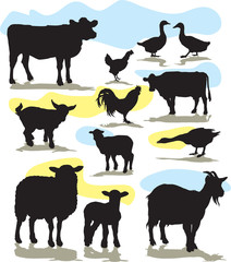 set vector farm animals silhouettes