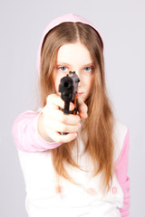 Girl with a pistol.