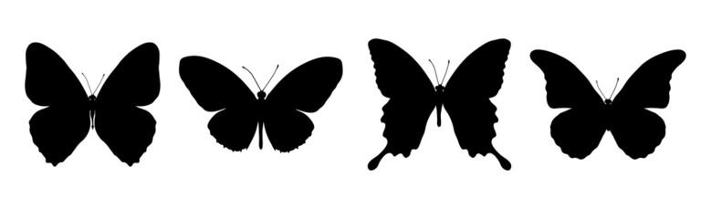 four black butterflies