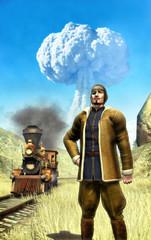 steampunk man and atomic war
