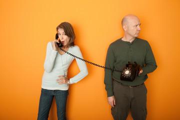 Couple on Telephone Call