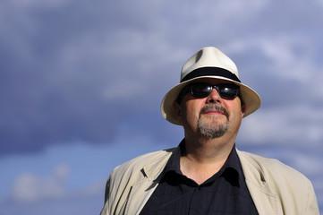 happy, hat, man, open, outdoor, portrait, summer