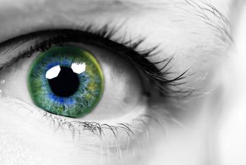 Auge mit bunter Pupille