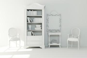 3d interior design - clay render