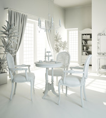 3d interior design - clay render