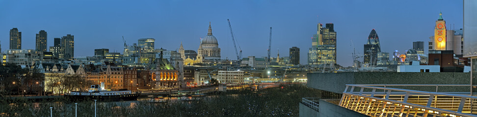Panoramic view of City of London England UK Europe at dusk