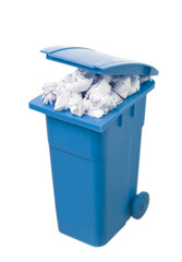 Recycling bin with paper