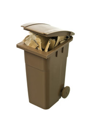 Recycling bin with cardboard paper