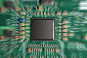 Close-up of computer chip with zoom effect