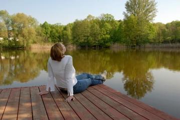 Relaxing at lake