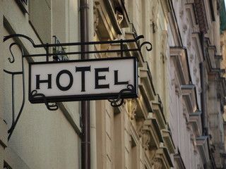 Hotel sign in Prague