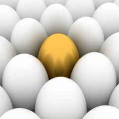 golden easter egg among similar white eggs