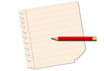 Hojas de cuaderno con lápiz