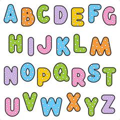 Polka-dot pattern alphabet set