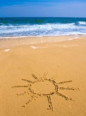 Sun sign  on sea beach