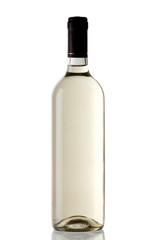 White wine bottle isolated over white background