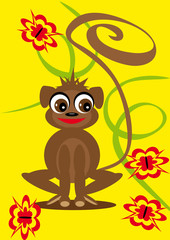 small animation monkey on the isolated background