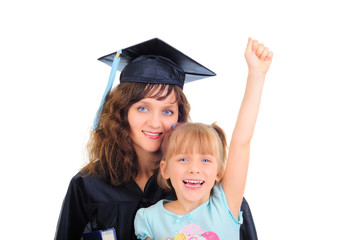 Graduating mom with cute daughter