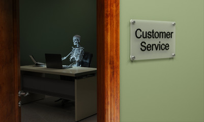 Dead customer service concept with skeleton