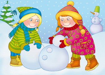 two little girls snowball and makes snowman