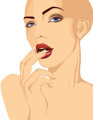 Pop art style bald woman portrait